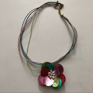 Flower Multi-strand 70's Style Necklace